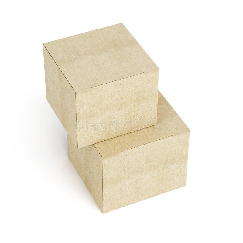 Взгляд сверху стога картонных коробок на белой предпосылке 3d ren иллюстрация штока