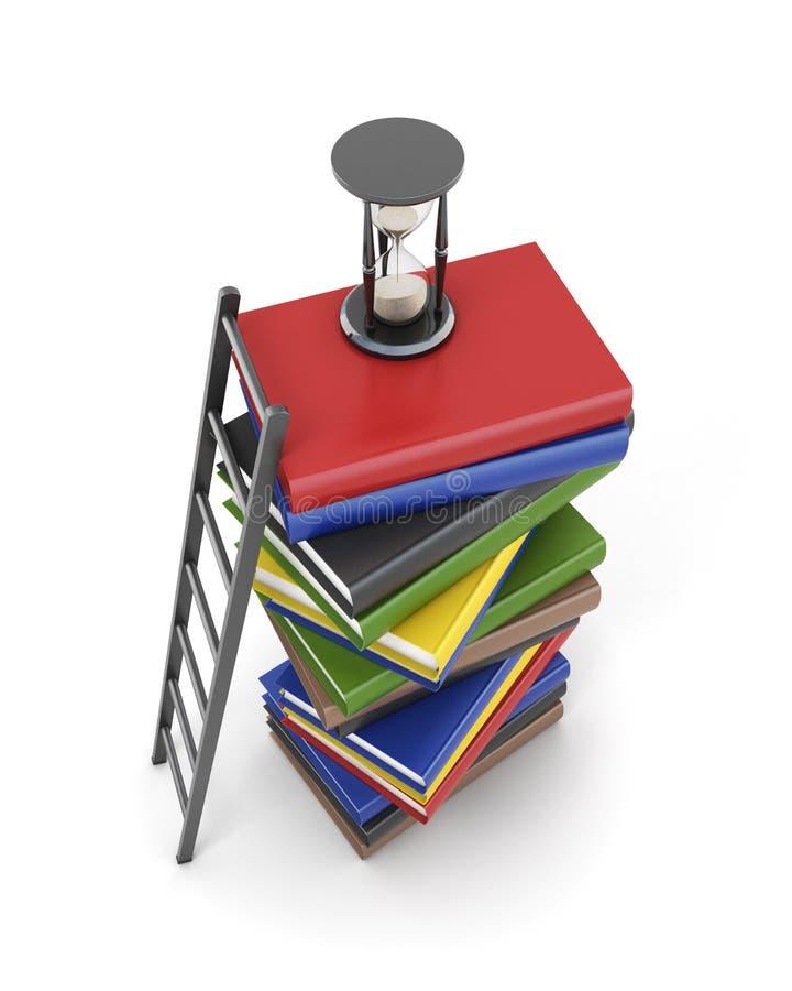 Взгляд сверху стога книг, часов и лестницы 3d иллюстрация вектора