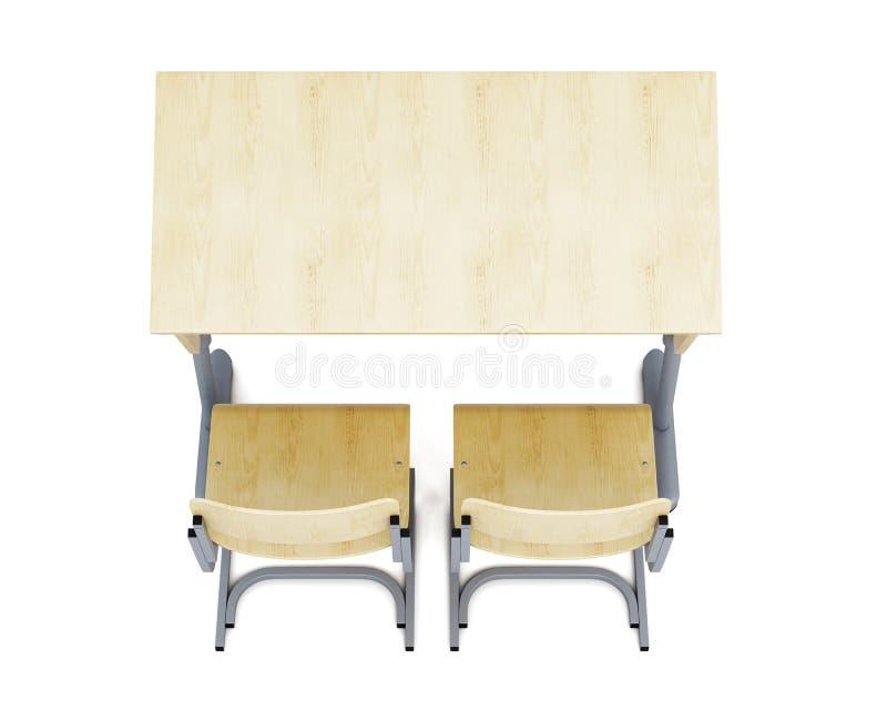 Взгляд сверху стола и стульев школы на белом backgroun бесплатная иллюстрация