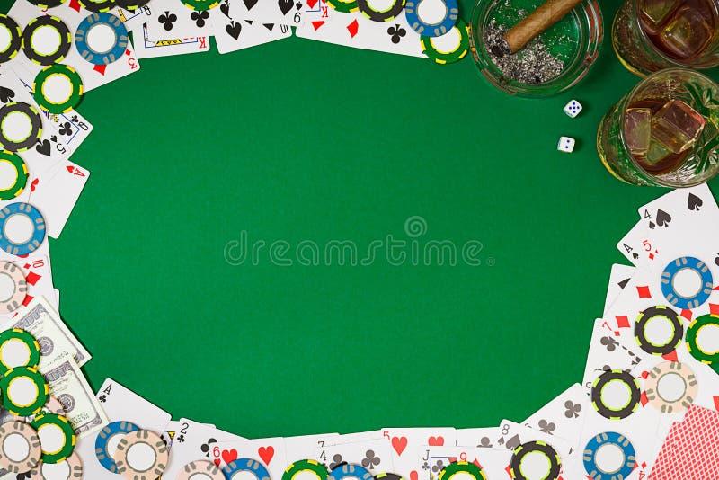 Взгляд сверху с космосом экземпляра Модель-макет плана шаблона знамени для онлайн казино Зеленая таблица, взгляд сверху на рабоче иллюстрация штока