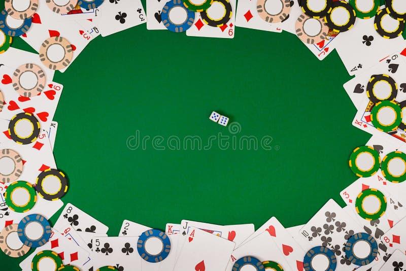 Взгляд сверху с космосом экземпляра Модель-макет плана шаблона знамени для онлайн казино Зеленая таблица, взгляд сверху на рабоче иллюстрация вектора