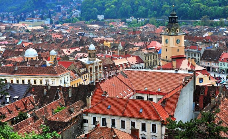 Взгляд сверху центра Brasov исторического стоковые фото