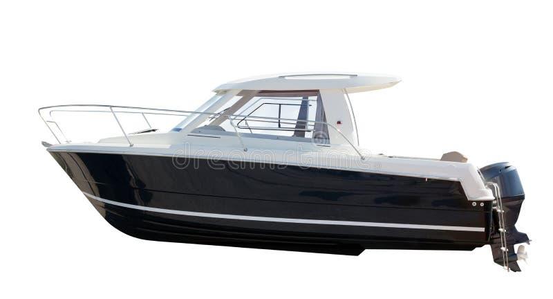 Взгляд со стороны моторной лодки. Изолированный над белизной стоковое фото