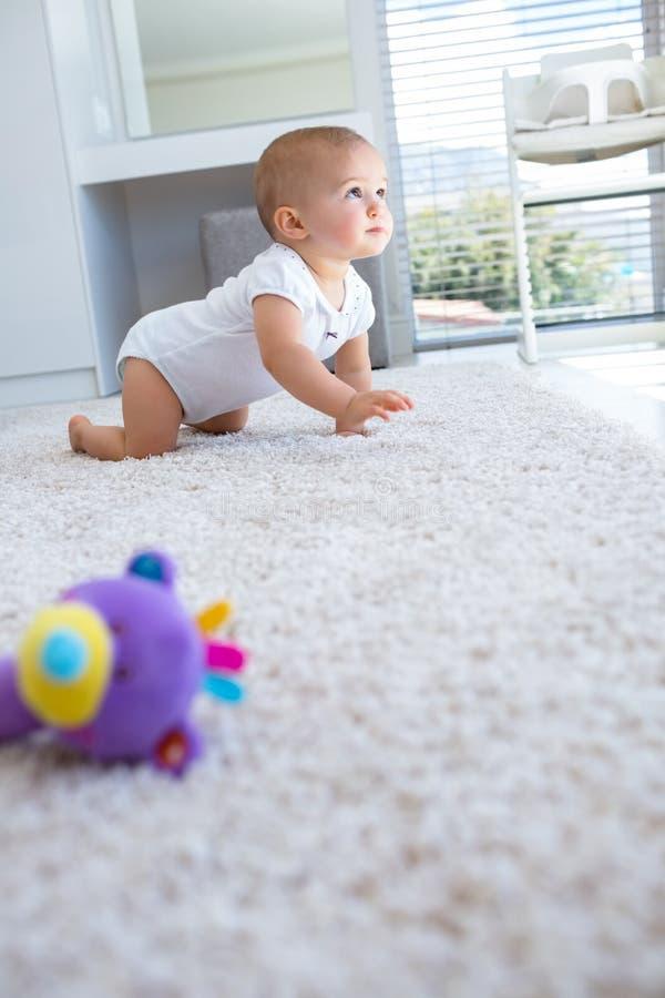 Взгляд со стороны младенца вползая на ковре стоковое изображение rf