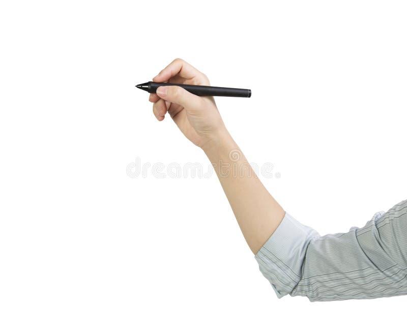 Взгляд со стороны сочинительства ручки удерживания руки женщины стоковая фотография rf