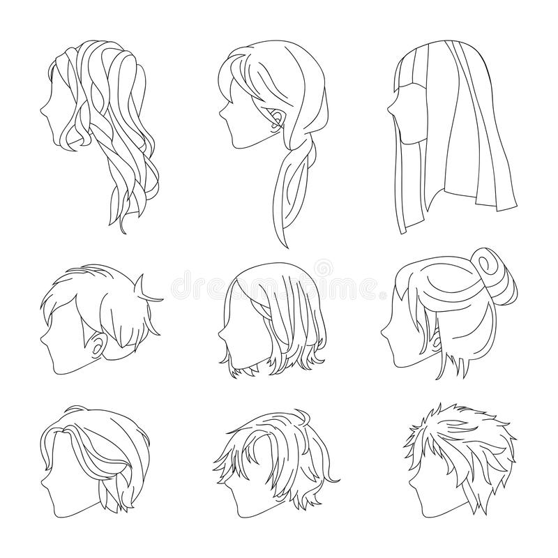 Взгляд со стороны стиля причёсок собрания для линии комплекта волос человека и женщины чертежа также вектор иллюстрации притяжки  иллюстрация штока