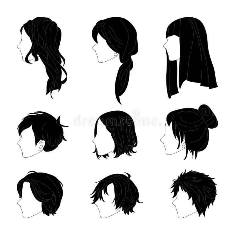 Взгляд со стороны стиля причёсок собрания для комплекта чертежа волос человека и женщины также вектор иллюстрации притяжки corel иллюстрация штока