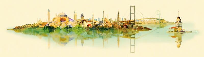 Взгляд Стамбула иллюстрации цвета воды вектора панорамный иллюстрация штока