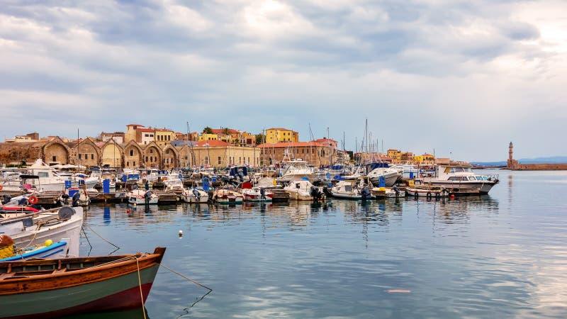 Взгляд старого порта Chania Крит Греция стоковые фотографии rf