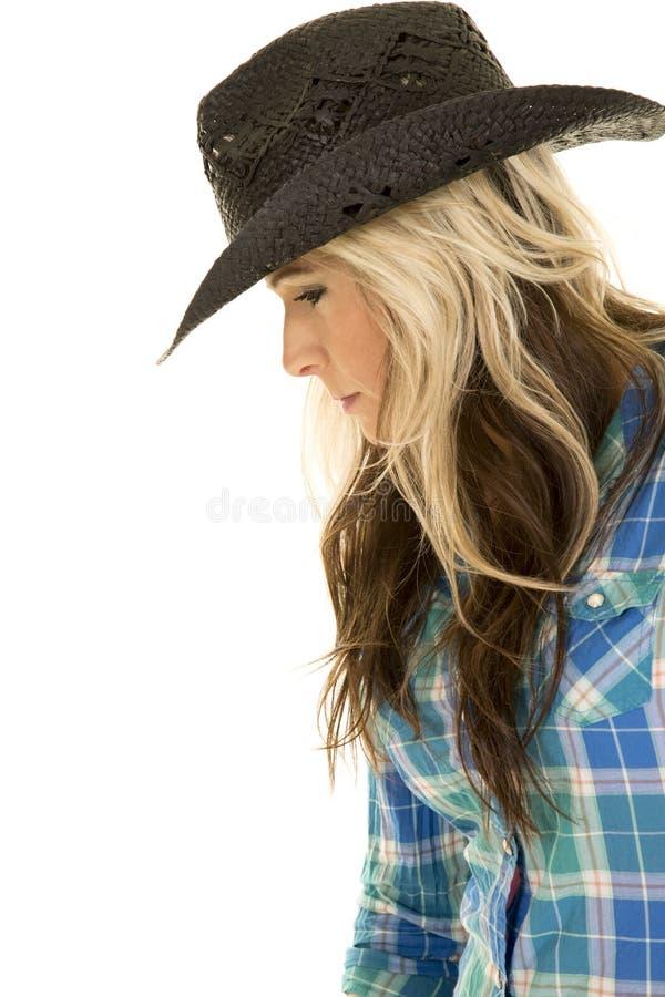 Взгляд стороны конца шляпы рубашки пастушкы голубой вниз стоковое изображение rf