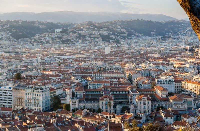 Взгляд славного города с Lycee Massena стоковое фото rf