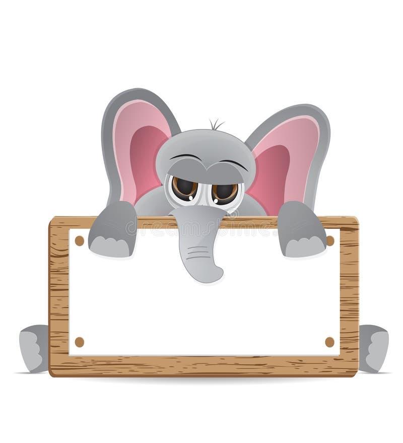 Взгляд украдкой слона за доской текста бесплатная иллюстрация