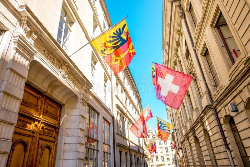 Взгляд улицы в городе Женевы стоковые фото