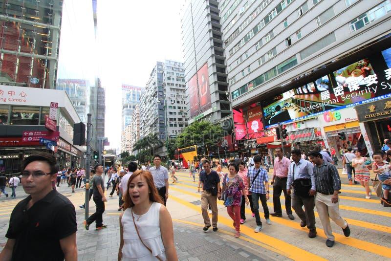 Взгляд улицы в Tsim Sha Tsui, Гонконге стоковое изображение rf
