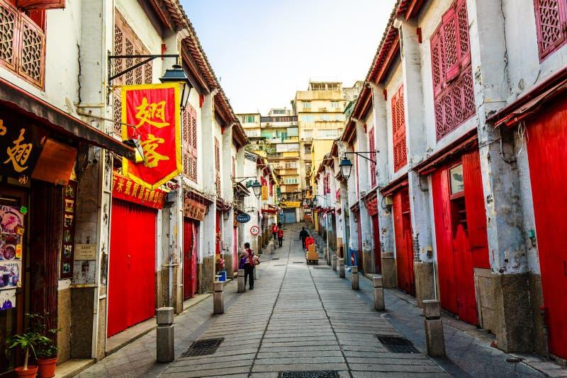 взгляд улицы города Макао старой стоковые фотографии rf