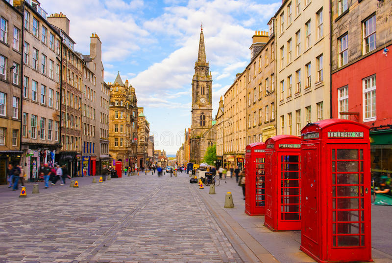 Взгляд улицы Эдинбурга, Шотландии, Великобритании стоковое фото