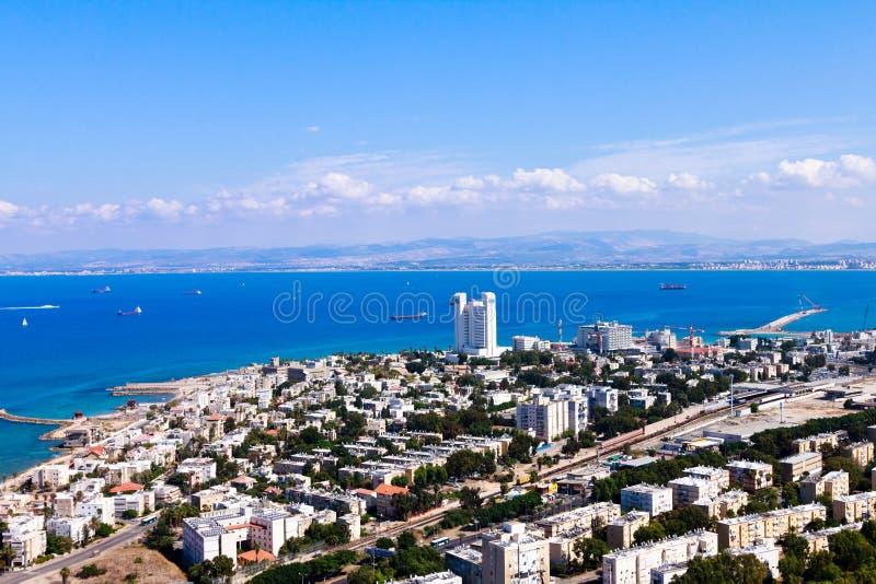 Взгляд Хайфы города от полета птицы стоковая фотография