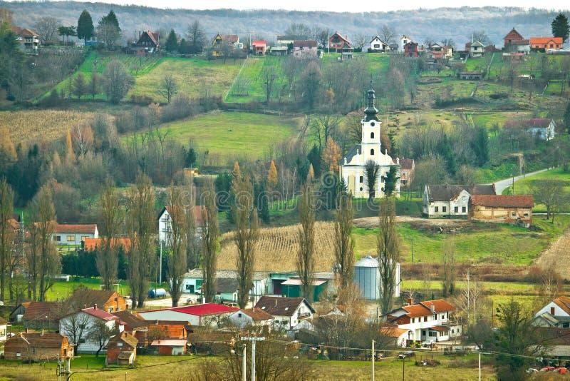 Взгляд холма деревни trojstvo Veliko стоковая фотография