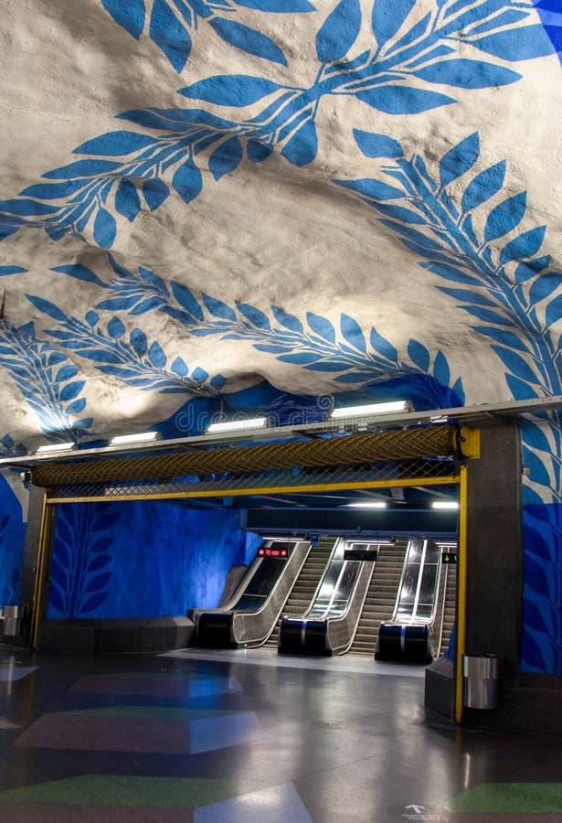 Взгляд художественного произведения известного ` T-centralen ` станции метро Стокгольма handpainted мимо согласно с Olof u стоковое фото