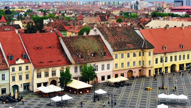 Взгляд центральной площади Сибиу, Румынии стоковая фотография rf