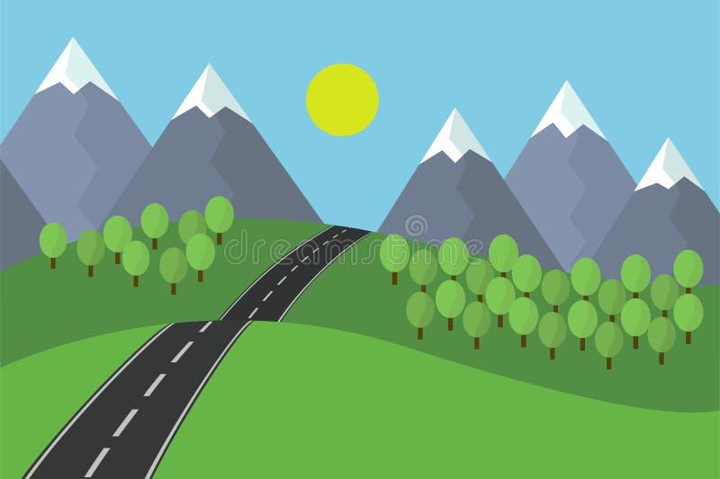 Взгляд шаржа ландшафта дороги асфальта ведущего с травой и деревьями в горах с снегом под голубым небом с солнцем бесплатная иллюстрация