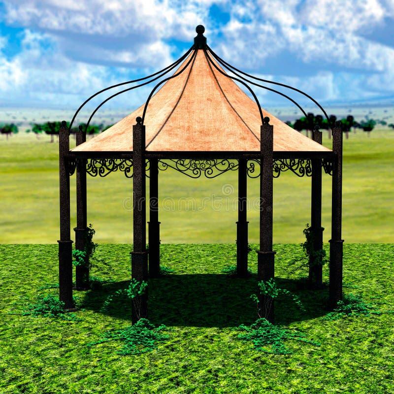 Взгляд шатра от afar с зеленой травой и небом бесплатная иллюстрация