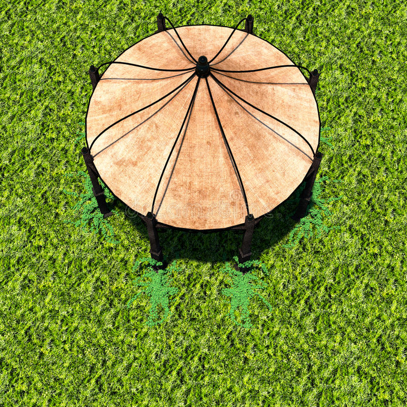 Взгляд шатра от afar с зеленой травой бесплатная иллюстрация