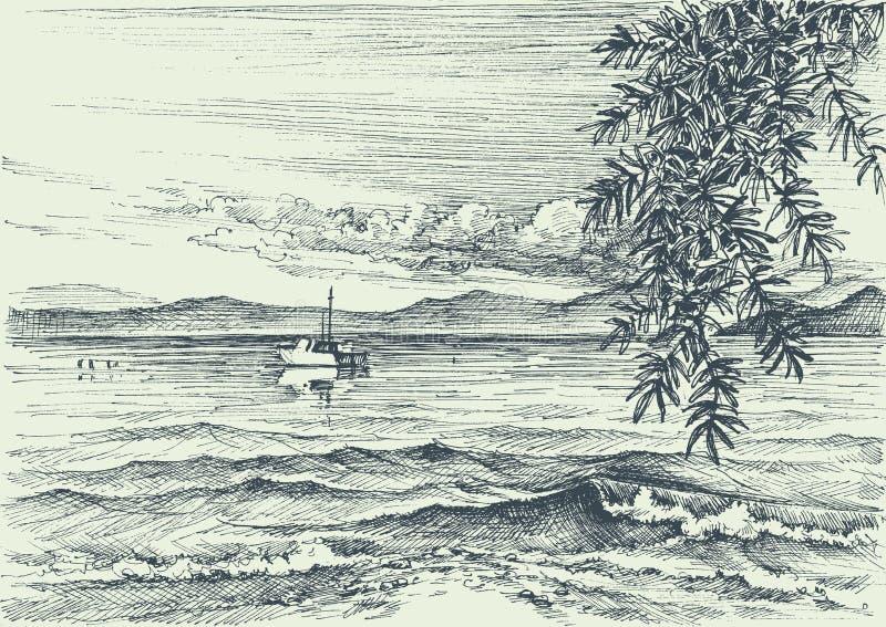 взгляд штиля на море иллюстрация штока