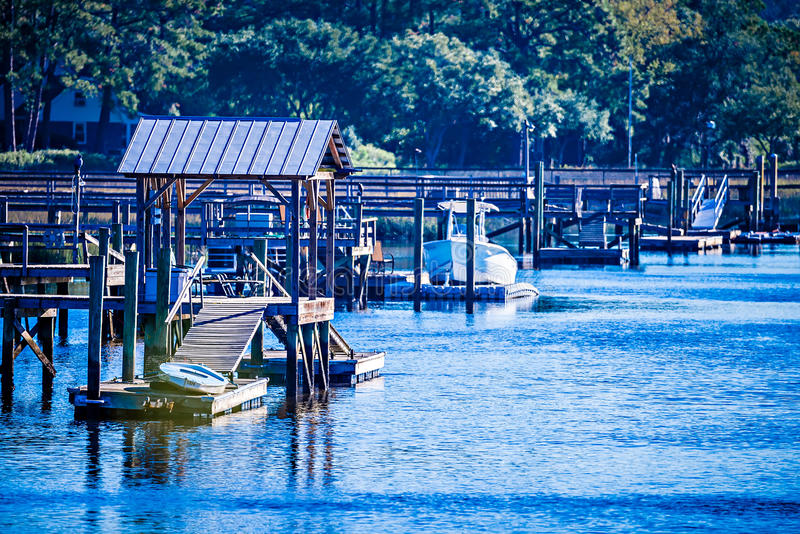 Взгляды водного пути и болота на острове Южной Каролине johns стоковое изображение rf
