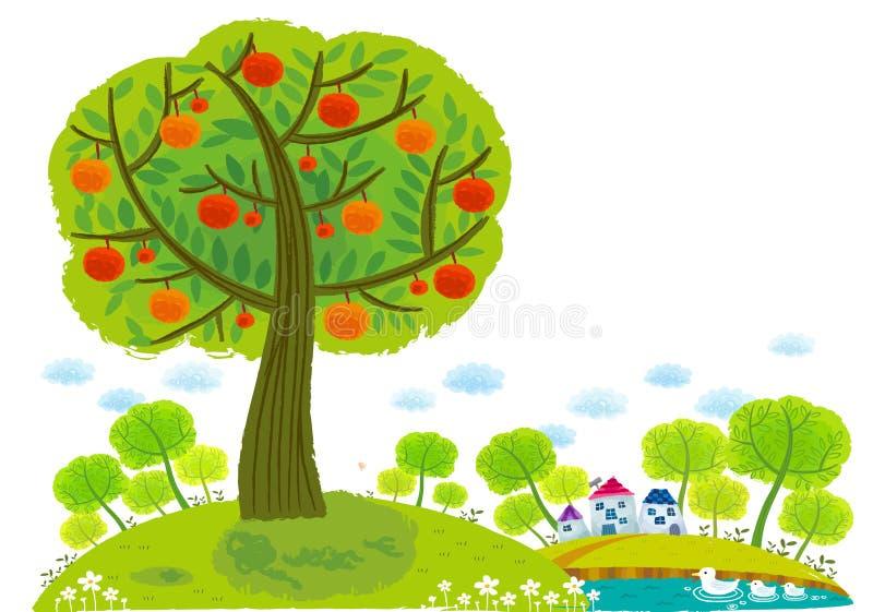 Взгляд яблони вокруг озера иллюстрация штока