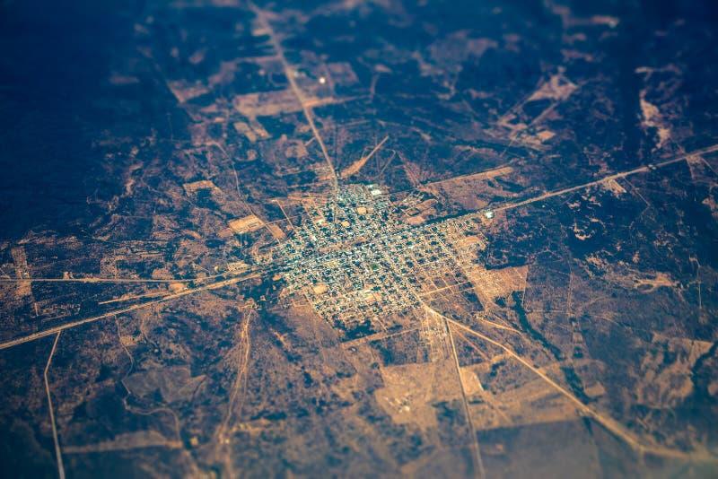 Взгляд Aerrial маленького города стоковая фотография rf