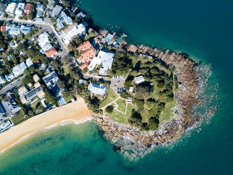 Взгляд Arial пункта Laings, залива Watsons, Сиднея стоковая фотография rf