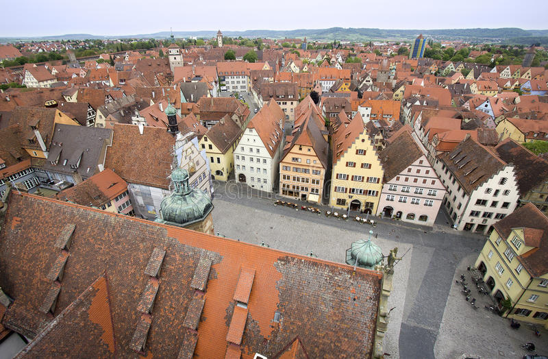 Взгляд der Tauber ob Ротенбурга, Германии стоковое фото rf