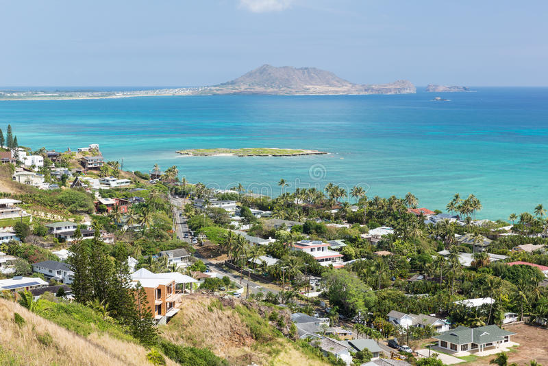 Взгляд Kailua от следа коробочек для таблеток Lanikai стоковая фотография rf