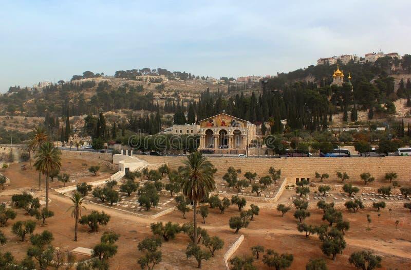 Взгляд Kidron Valley с садом церков Gethsemane всех наций стоковые фото