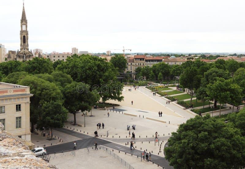 Взгляд Nimes от римского амфитеатра в Франции стоковое фото