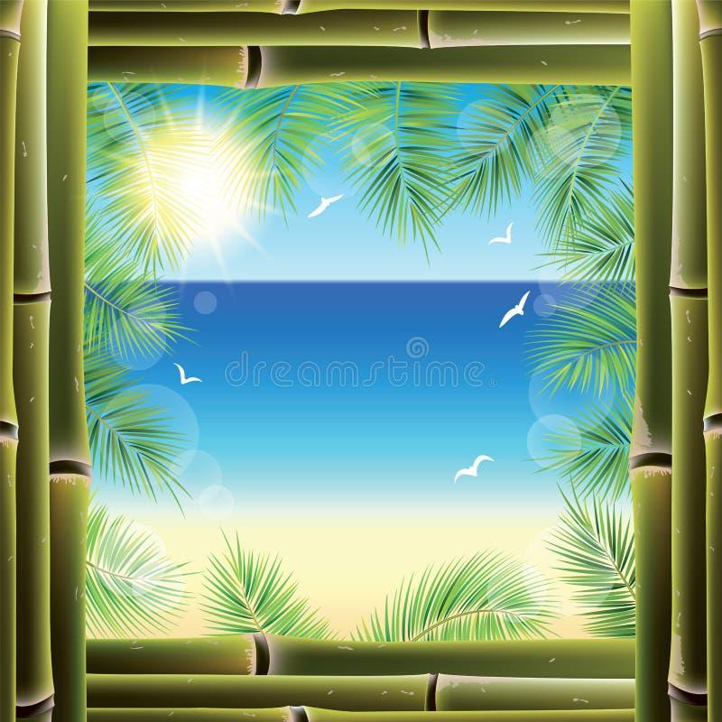 Взгляд seashore от окна курортного отеля иллюстрация вектора