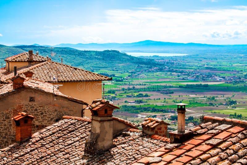 Взгляд Val di Chiana, в Тоскане, Италия стоковая фотография rf