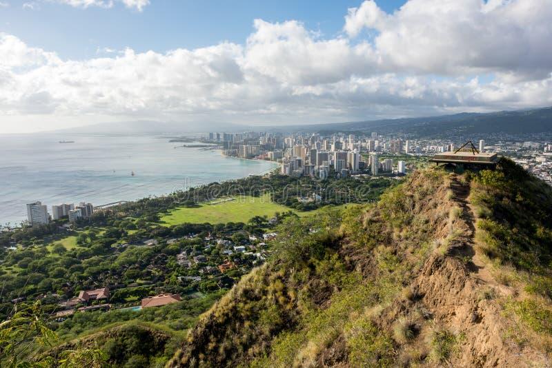 Взгляд Waikiki от головы диаманта стоковые изображения