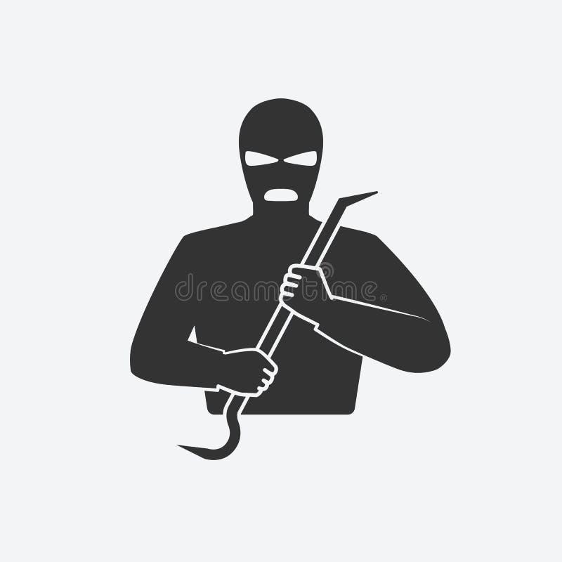 Взломщик в маске с ломом иллюстрация вектора