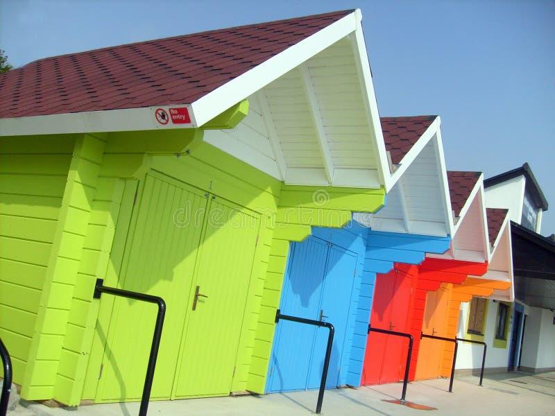 взморье chalets пляжа цветастое стоковые изображения rf