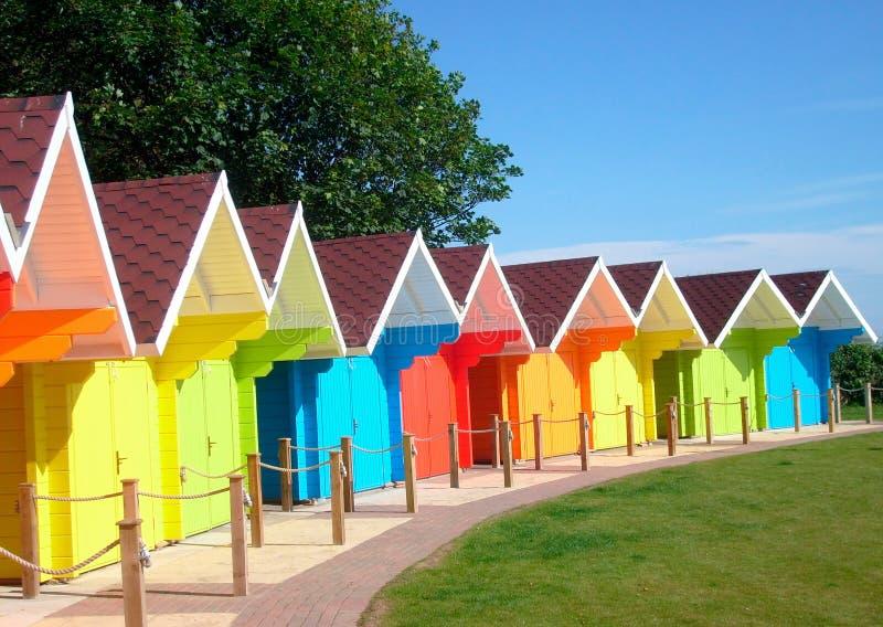 взморье chalets пляжа цветастое стоковая фотография rf