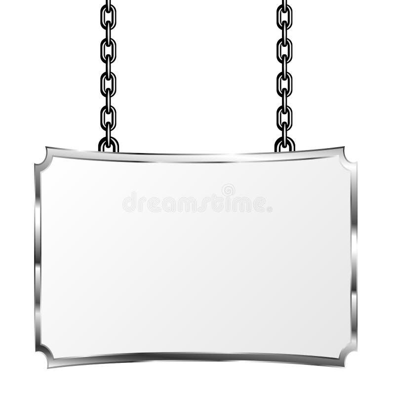 Взойдите на борт в смертной казни через повешение рамки металла на цепях Серебряный шильдик Изолированная иллюстрация вектора иллюстрация штока