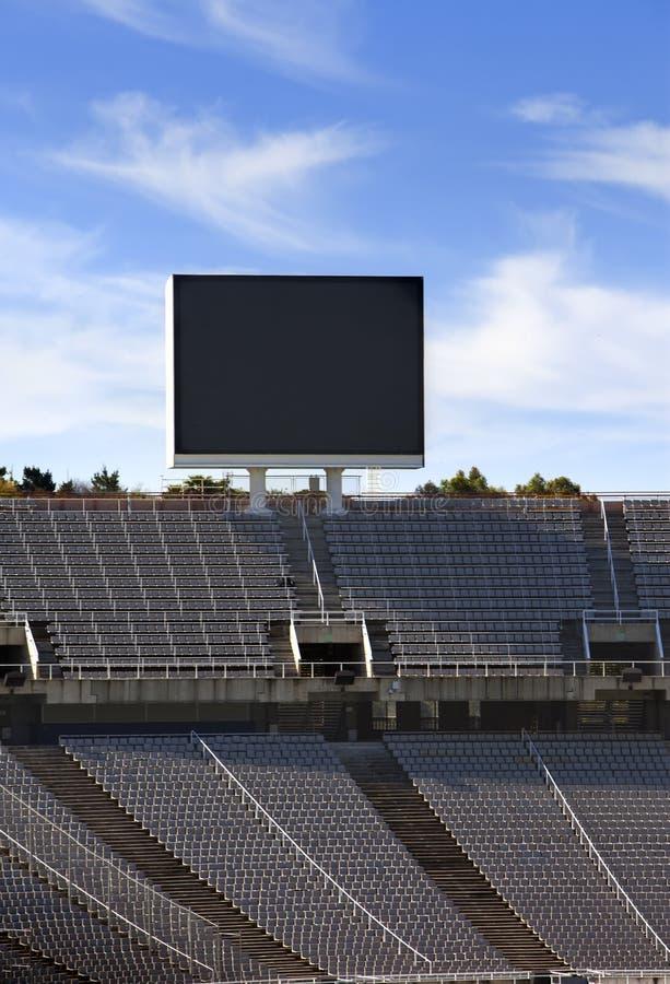Взойдите на борт над пустыми трибунами на Барселоне Olympic Stadium 10-ого мая 2010 в Барселоне, Испании стоковое изображение