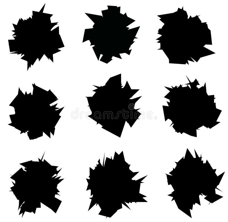 Взорванное собрание силуэта черноты значка острое над белизной иллюстрация штока
