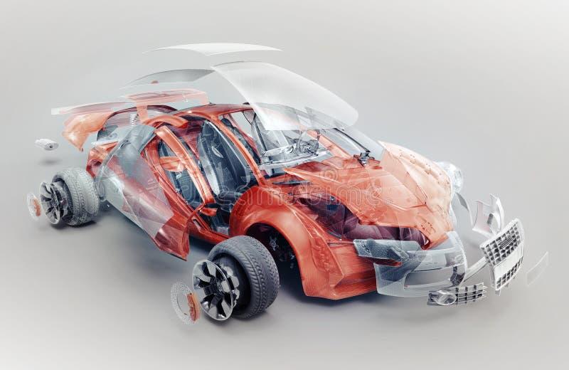 Взорванный автомобиль иллюстрация штока