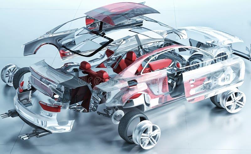 Взорванный прозрачный автомобиль иллюстрация вектора