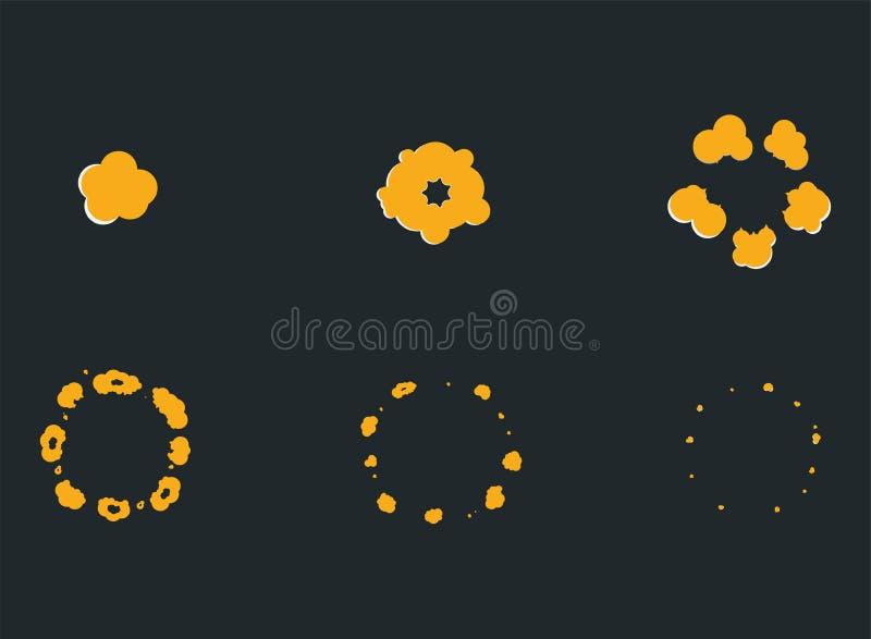 Взорвите анимацию влияния с дымом Рамки взрыва челки шаржа иллюстрация вектора