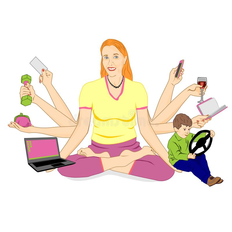 Взрослая женщина с 8 руками сидит в положении лотоса и держит различные детали Концепция современной женщины которая управляет сд иллюстрация штока