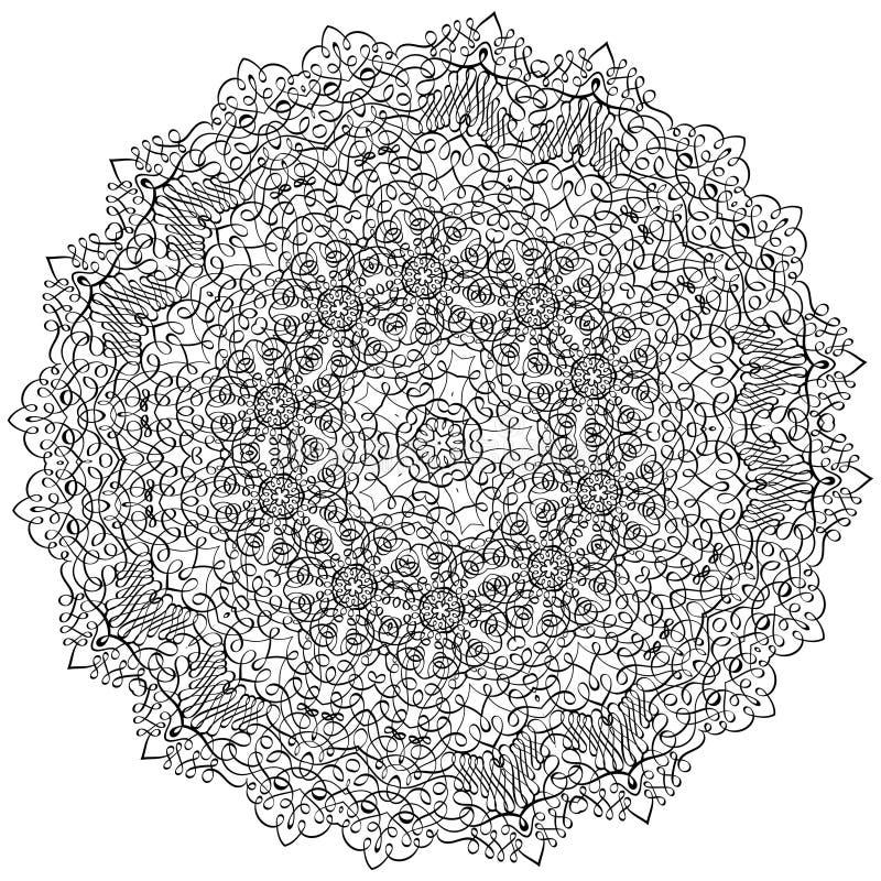Взрослая картина мандалы illustrationLacy книжка-раскраски с каллиграфическими свирлями и затейливым запутанным кружевным орнамен бесплатная иллюстрация